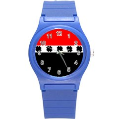 Red, White And Black With X s Design By Celeste Khoncepts Plastic Sport Watch (Small)