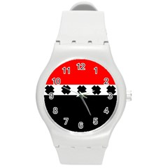 Red, White And Black With X s Design By Celeste Khoncepts Plastic Sport Watch (Medium)