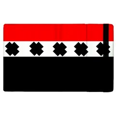 Red, White And Black With X s Design By Celeste Khoncepts Apple iPad 2 Flip Case