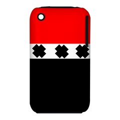 Red, White And Black With X s Design By Celeste Khoncepts Apple Iphone 3g/3gs Hardshell Case (pc+silicone)