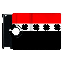 Red, White And Black With X s Design By Celeste Khoncepts Apple iPad 3/4 Flip 360 Case