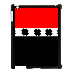 Red, White And Black With X s Design By Celeste Khoncepts Apple Ipad 3/4 Case (black)