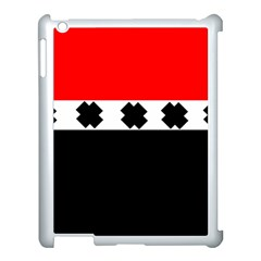 Red, White And Black With X s Design By Celeste Khoncepts Apple iPad 3/4 Case (White)