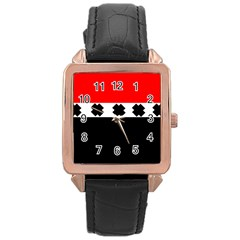 Red, White And Black With X s Design By Celeste Khoncepts Rose Gold Leather Watch