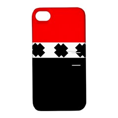 Red, White And Black With X s Design By Celeste Khoncepts Apple Iphone 4/4s Hardshell Case With Stand