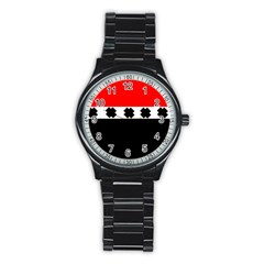 Red, White And Black With X s Design By Celeste Khoncepts Sport Metal Watch (black)