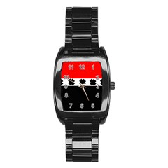 Red, White And Black With X s Design By Celeste Khoncepts Stainless Steel Barrel Watch