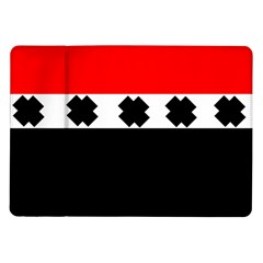 Red, White And Black With X s Design By Celeste Khoncepts Samsung Galaxy Tab 10.1  P7500 Flip Case