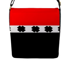 Red, White And Black With X s Design By Celeste Khoncepts Flap Closure Messenger Bag (Large)