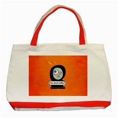 Orange Funny Too Much Coffee Classic Tote Bag (Red)