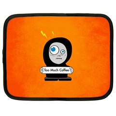 Orange Funny Too Much Coffee Netbook Sleeve (large)
