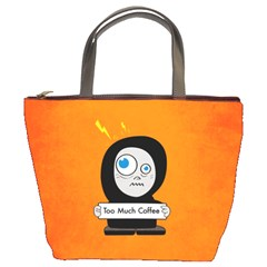 Orange Funny Too Much Coffee Bucket Handbag