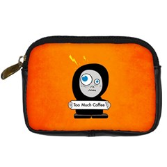 Orange Funny Too Much Coffee Digital Camera Leather Case