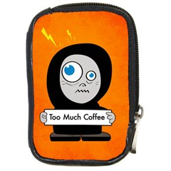 Orange Funny Too Much Coffee Compact Camera Leather Case