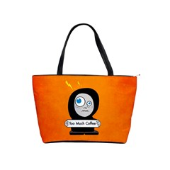 Orange Funny Too Much Coffee Large Shoulder Bag
