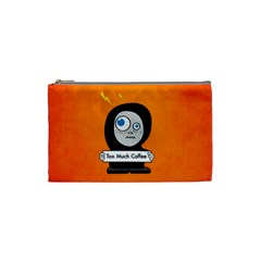 Orange Funny Too Much Coffee Cosmetic Bag (small)