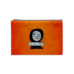 Orange Funny Too Much Coffee Cosmetic Bag (medium)
