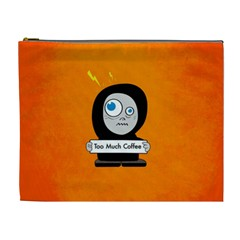 Orange Funny Too Much Coffee Cosmetic Bag (XL)