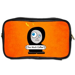Orange Funny Too Much Coffee Travel Toiletry Bag (Two Sides)