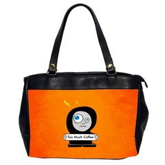 Orange Funny Too Much Coffee Oversize Office Handbag (Two Sides)