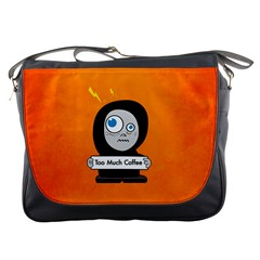 Orange Funny Too Much Coffee Messenger Bag