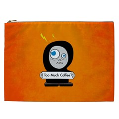 Orange Funny Too Much Coffee Cosmetic Bag (XXL)
