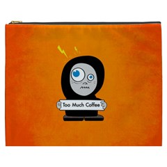 Orange Funny Too Much Coffee Cosmetic Bag (XXXL)