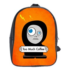Orange Funny Too Much Coffee School Bag (XL)
