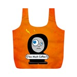 Orange Funny Too Much Coffee Reusable Bag (M) Front