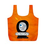 Orange Funny Too Much Coffee Reusable Bag (M) Back