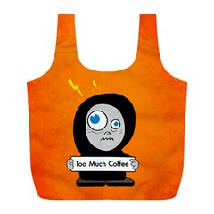 Orange Funny Too Much Coffee Reusable Bag (L)