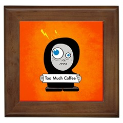 Orange Funny Too Much Coffee Framed Ceramic Tile