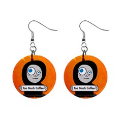 Orange Funny Too Much Coffee Mini Button Earrings