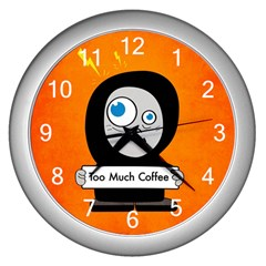 Orange Funny Too Much Coffee Wall Clock (Silver)