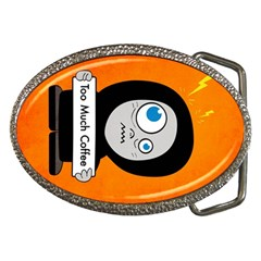 Orange Funny Too Much Coffee Belt Buckle (Oval)