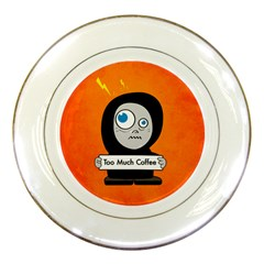 Orange Funny Too Much Coffee Porcelain Display Plate