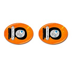 Orange Funny Too Much Coffee Cufflinks (Oval)