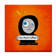 Orange Funny Too Much Coffee Face Towel