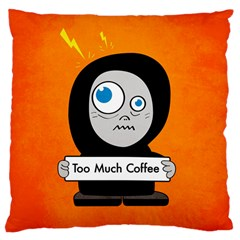 Orange Funny Too Much Coffee Large Cushion Case (Single Sided)