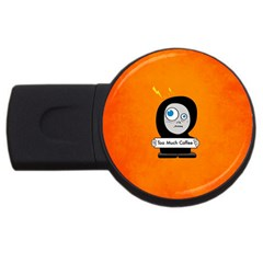 Orange Funny Too Much Coffee 4GB USB Flash Drive (Round)