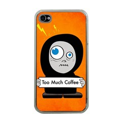 Orange Funny Too Much Coffee Apple iPhone 4 Case (Clear)