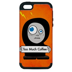 Orange Funny Too Much Coffee Apple Iphone 5 Hardshell Case (pc+silicone)