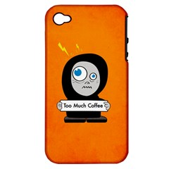 Orange Funny Too Much Coffee Apple iPhone 4/4S Hardshell Case (PC+Silicone)