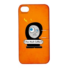 Orange Funny Too Much Coffee Apple Iphone 4/4s Hardshell Case With Stand