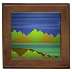 Landscape  Illustration Framed Ceramic Tile