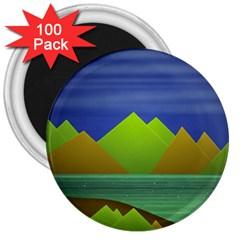 Landscape  Illustration 3  Button Magnet (100 pack)