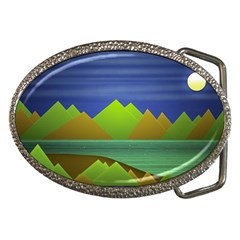 Landscape  Illustration Belt Buckle (oval)