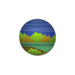 Landscape  Illustration Golf Ball Marker 10 Pack