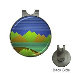 Landscape  Illustration Hat Clip with Golf Ball Marker