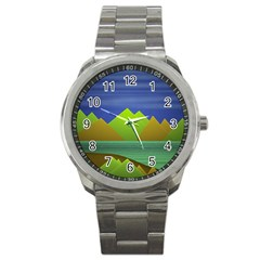 Landscape  Illustration Sport Metal Watch